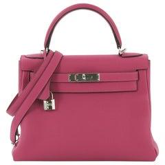 Hermes Kelly Handbag Rose Pourpre Togo with Palladium Hardware 28