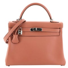 Hermes Kelly Handbag Rosy Swift with Palladium Hardware 32