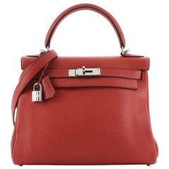 Hermes Kelly Handbag Rouge Casaque Clemence with Palladium Hardware 28