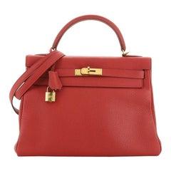 Hermes Kelly Handbag Rouge Garance Clemence With Gold Hardware 32