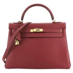 Hermes Kelly Handbag Rouge Grenat Togo with Gold Hardware 32