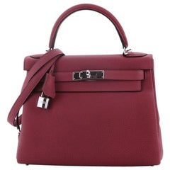 Hermes Kelly Handbag Rouge Grenat Togo with Palladium Hardware 28