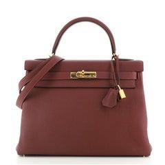 Hermes Kelly Handbag Rouge H Togo with Gold Hardware 32