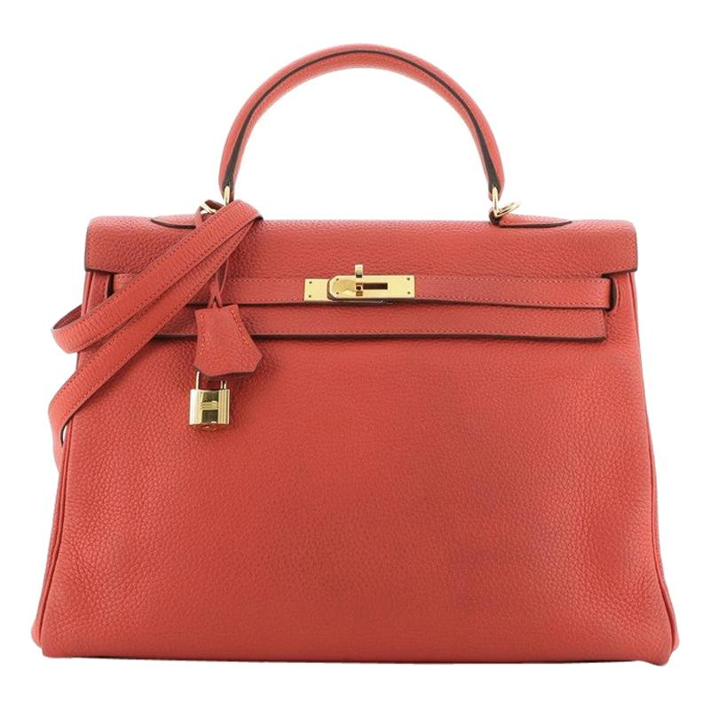 Hermes Kelly Handbag Rouge Pivoine Clemence with Gold Hardware 35