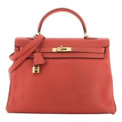 Hermes Kelly Handbag Rouge Pivoine Clemence with Gold Hardware 35