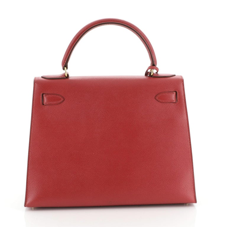 Hermes Kelly Handbag Rouge Vif Courchevel with Gold Hardware 28 In Good Condition In New York, NY