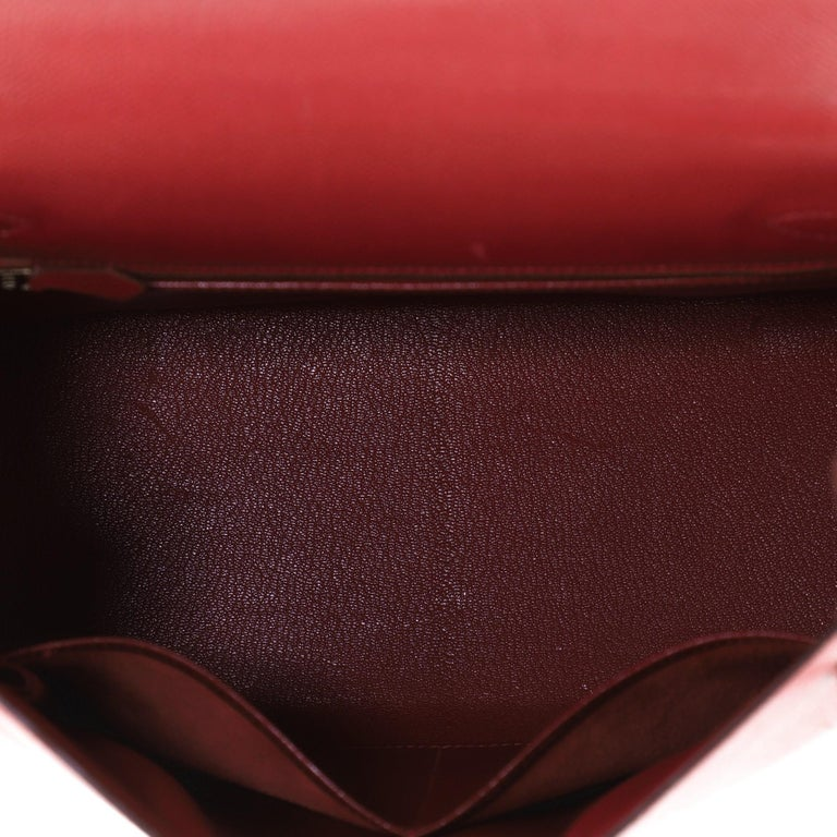 Hermes Kelly Handbag Rouge Vif Courchevel with Gold Hardware 28 1