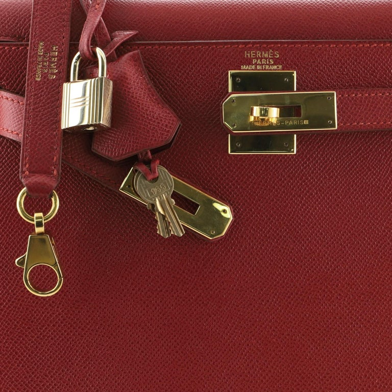 Hermes Kelly Handbag Rouge Vif Courchevel with Gold Hardware 28 2