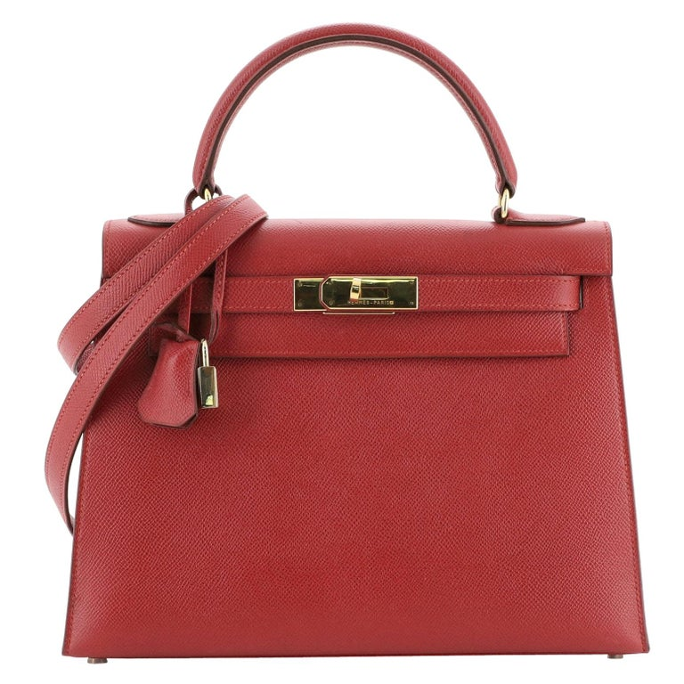 Hermes Kelly Handbag Rouge Vif Courchevel with Gold Hardware 28