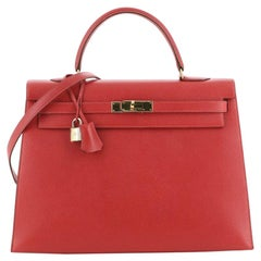 Hermes Kelly Handbag Rouge Vif Courchevel with Gold Hardware 35