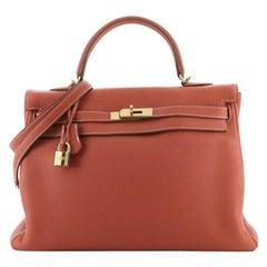 Hermes Kelly Handbag Sanguine Togo with Gold Hardware 35