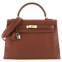 Hermes Kelly Handbag Sienne Togo with Gold Hardware 32
