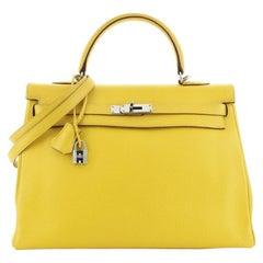 Hermes Kelly Handbag Soleil Clemence with Palladium Hardware 35
