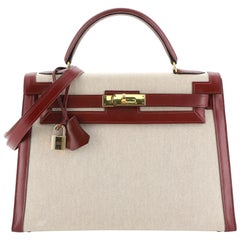 Hermes Kelly Handbag Toile And Rouge H Box Calf With Gold Hardware 32
