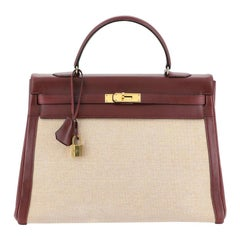 Hermes Kelly Handbag Toile and Rouge H Box Calf with Gold Hardware 35