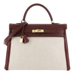Hermes Kelly Handbag Toile & Rouge H Chevre de Coromandel with Gold Hardware 35
