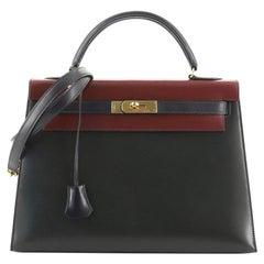 Hermes Kelly Handbag Tricolor Box Calf with Gold Hardware 32