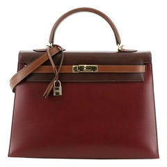 Hermes Kelly Handbag Tricolor Box Calf with Gold Hardware 35
