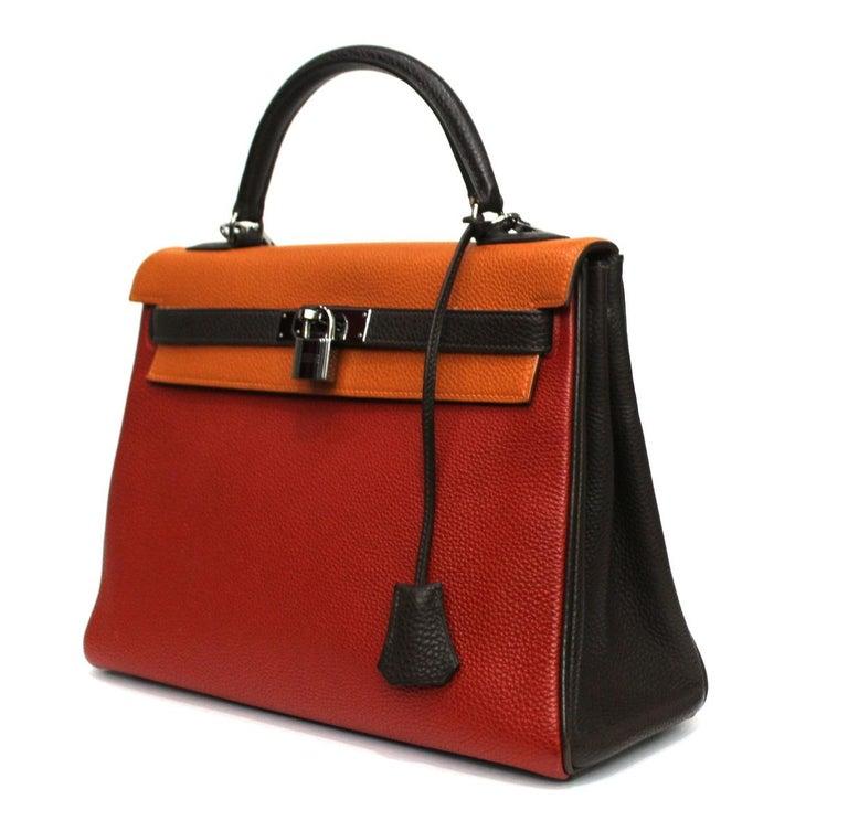 Red Hermes Kelly Handbag Tricolor Togo 32  For Sale