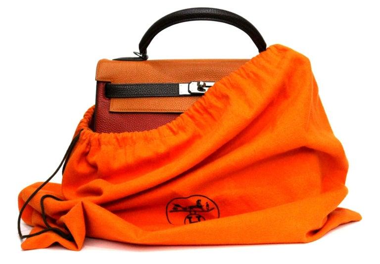 Hermes Kelly Handbag Tricolor Togo 32  For Sale 3