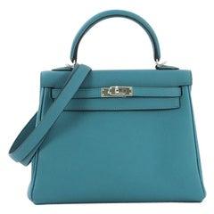 Hermes Kelly Handbag Turquoise Togo with Palladium Hardware 25
