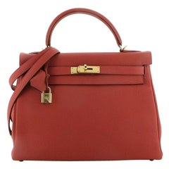 Hermes Kelly Handbag Vermillon Togo with Gold Hardware 32
