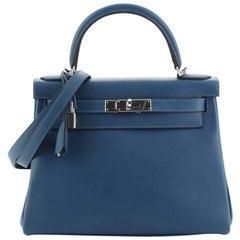 Hermes Kelly Handbag Verso Evercolor with Palladium Hardware 28