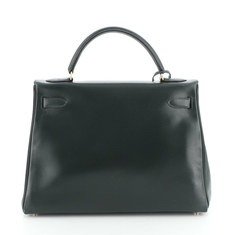 Hermes Kelly Handbag Vert Anglais Box Calf with Gold Hardware 32 In Good Condition For Sale In New York, NY
