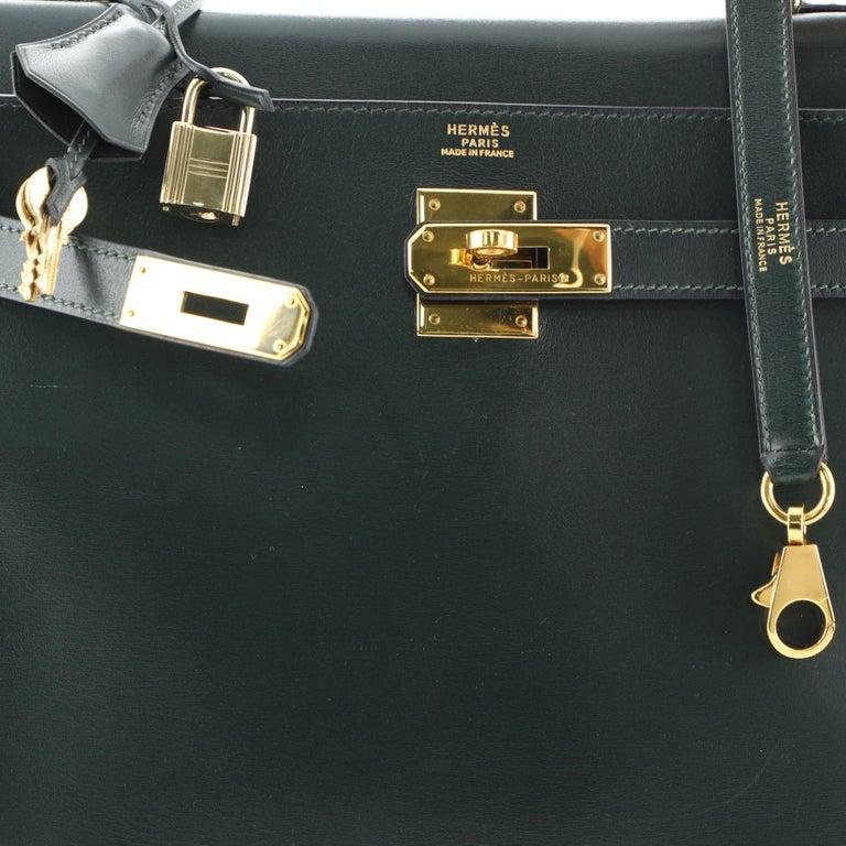 Hermes Kelly Handbag Vert Anglais Box Calf with Gold Hardware 32 For Sale 2