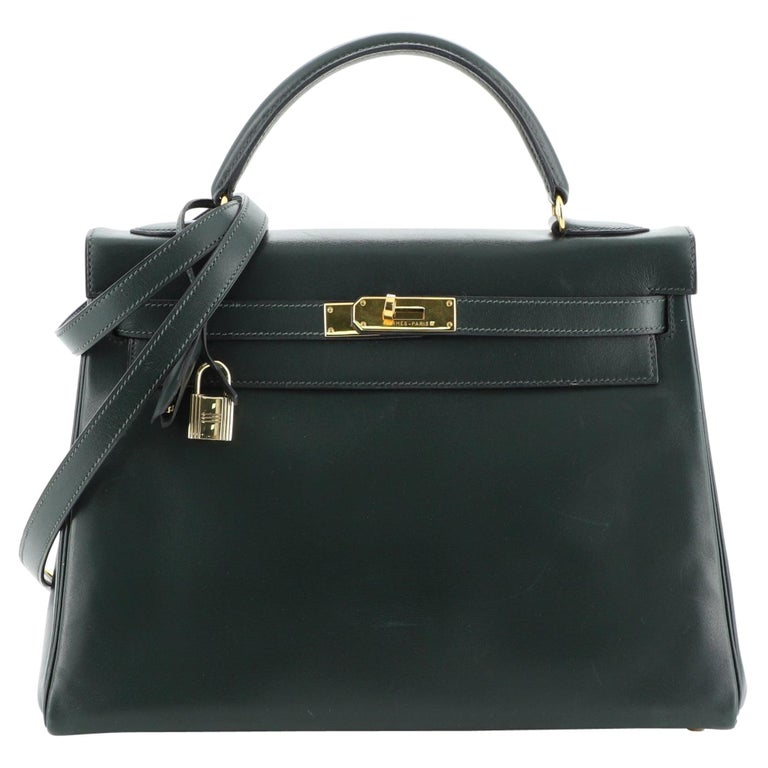 Hermes Kelly Handbag Vert Anglais Box Calf with Gold Hardware 32 For Sale