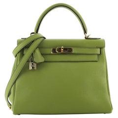 Hermes Kelly Handbag Vert Anis Togo with Gold Hardware 28