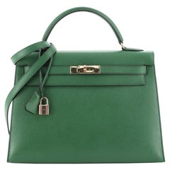 Hermes Kelly Handbag Vert Bengale Courchevel with Gold Hardware 32