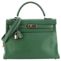 Hermes Kelly Handbag Vert Clair Courchevel with Gold Hardware 32