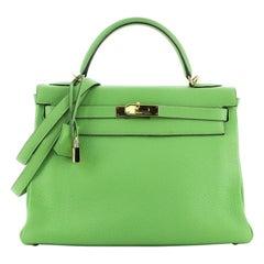 Hermes Kelly Handbag Vert Cru Clemence with Gold Hardware 32