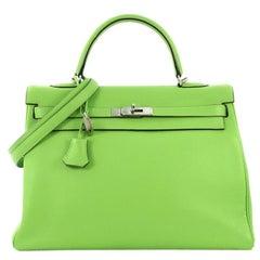 Hermes Kelly Handbag Vert Cru Clemence with Palladium Hardware 35