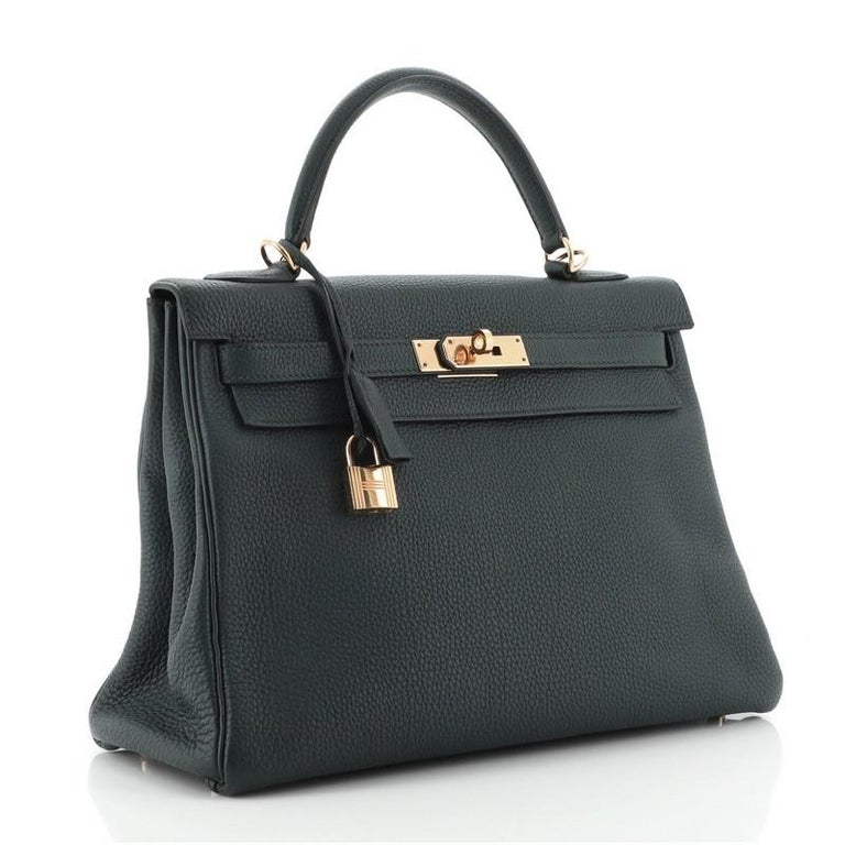 Hermes Kelly Handbag Vert Cypress Togo with Gold Hardware 32 In Good Condition For Sale In New York, NY