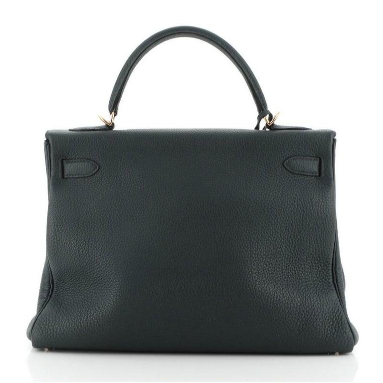 Women's or Men's Hermes Kelly Handbag Vert Cypress Togo with Gold Hardware 32 For Sale