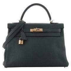Hermes Kelly Handbag Vert Cypress Togo with Gold Hardware 32