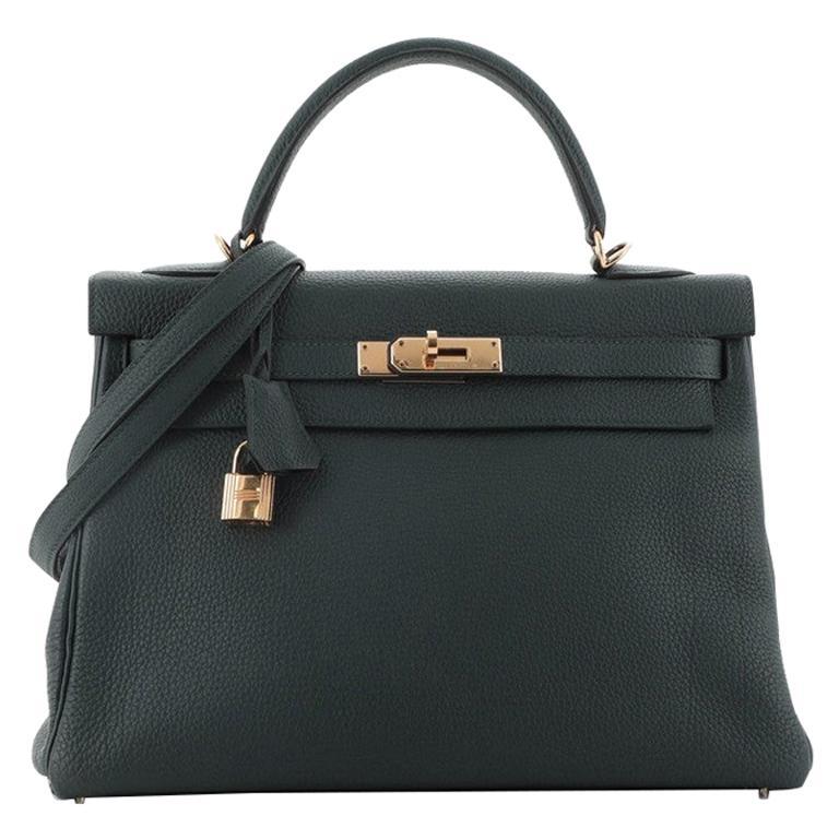 Hermes Kelly Handbag Vert Cypress Togo with Gold Hardware 32 For Sale