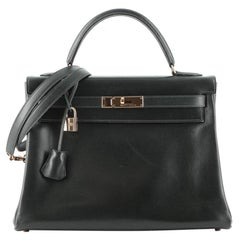 Hermes Kelly Handbag Vert Foncé Box Calf with Gold Hardware 32