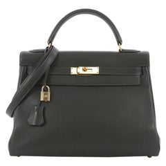 Hermes Kelly Handbag Vert Fonce Gulliver with Gold Hardware 32