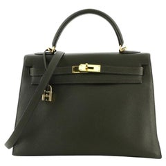 Hermes Kelly Handbag Vert Olive Togo with Gold Hardware 32