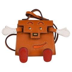 Hermes Kelly Idole Mini Quelle Bag Charm Sable Gold Hardware New