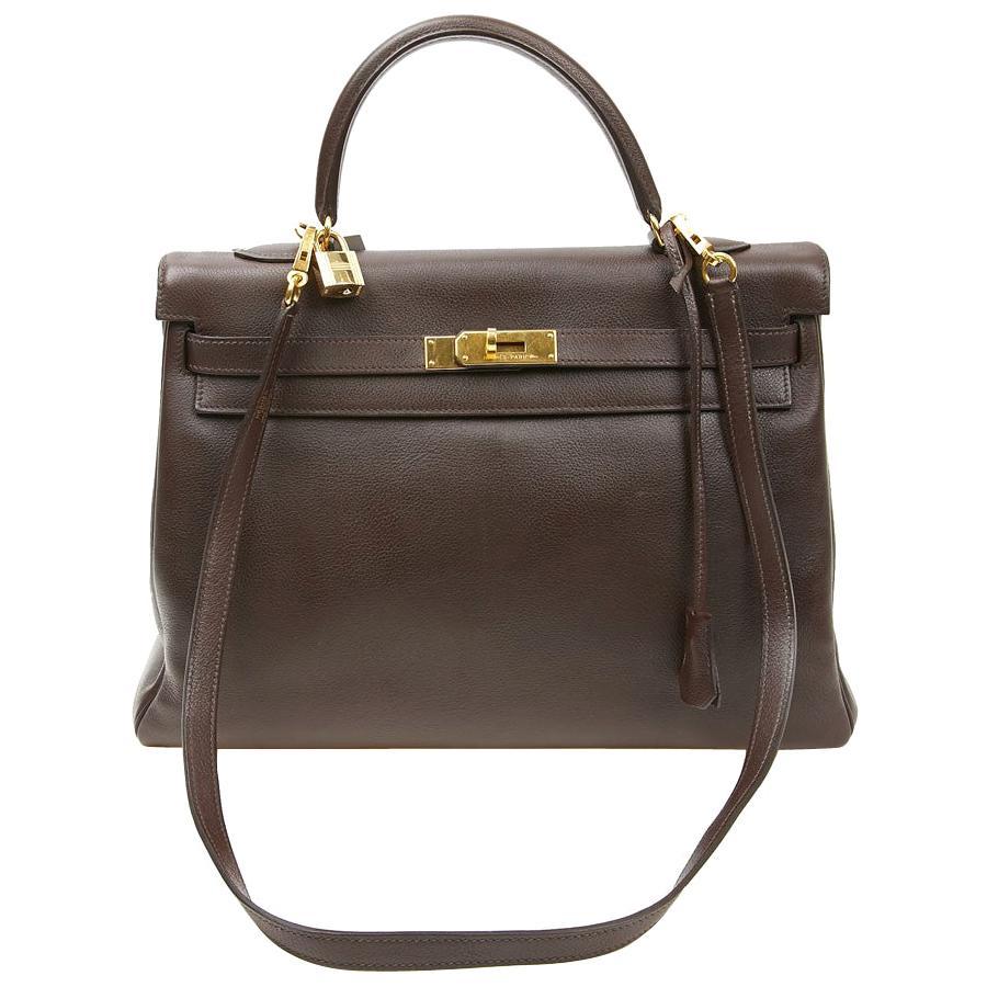HERMES Kelly II 35 Bag in Brown Grained Leather
