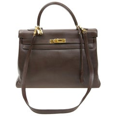 HERMES Kelly II 35 Bag in Brown Grained Leather