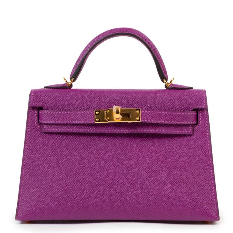 Purple Hermès Kelly II Mini 20 cm epsom Anemone For Sale