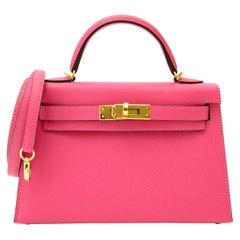 Hermès Kelly II Mini Veau Epsom Rose Azalee GHW