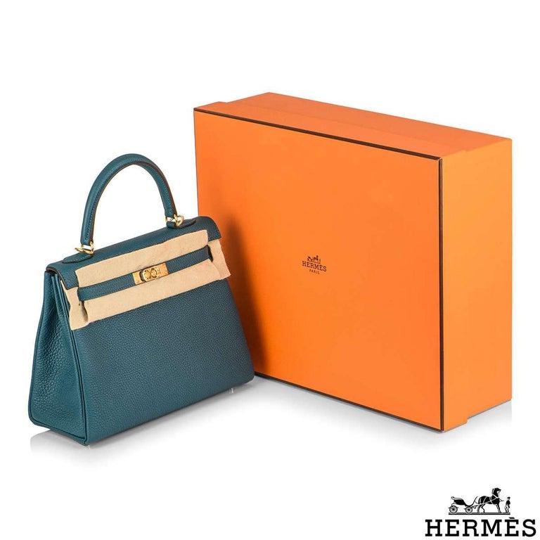 Hermès Kelly II Retourne 25cm Vert Bosphore Togo Handbag For Sale 5