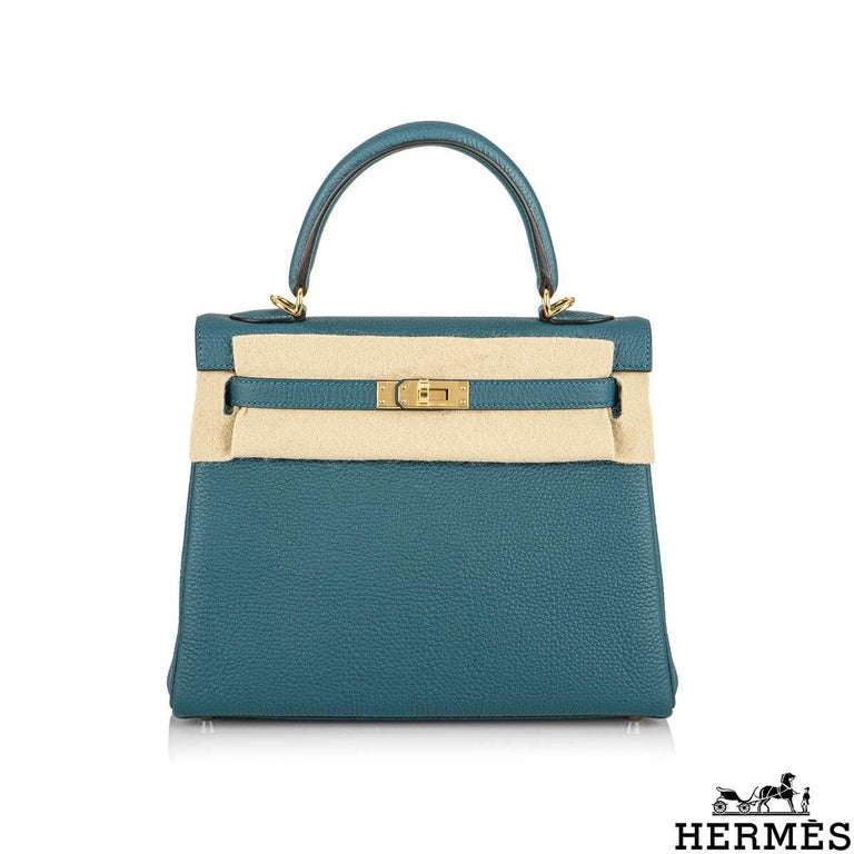 Blue Hermès Kelly II Retourne 25cm Vert Bosphore Togo Handbag For Sale