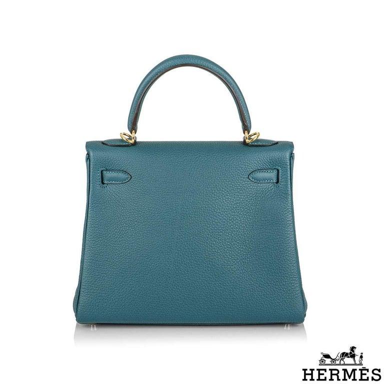 Hermès Kelly II Retourne 25cm Vert Bosphore Togo Handbag In New Condition For Sale In London, GB